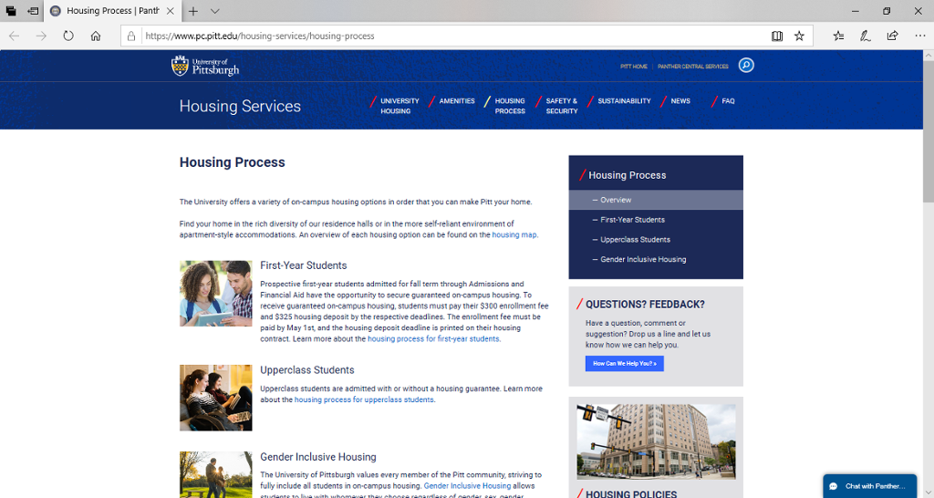 Screenshot of Panther Central's Housing Process page.