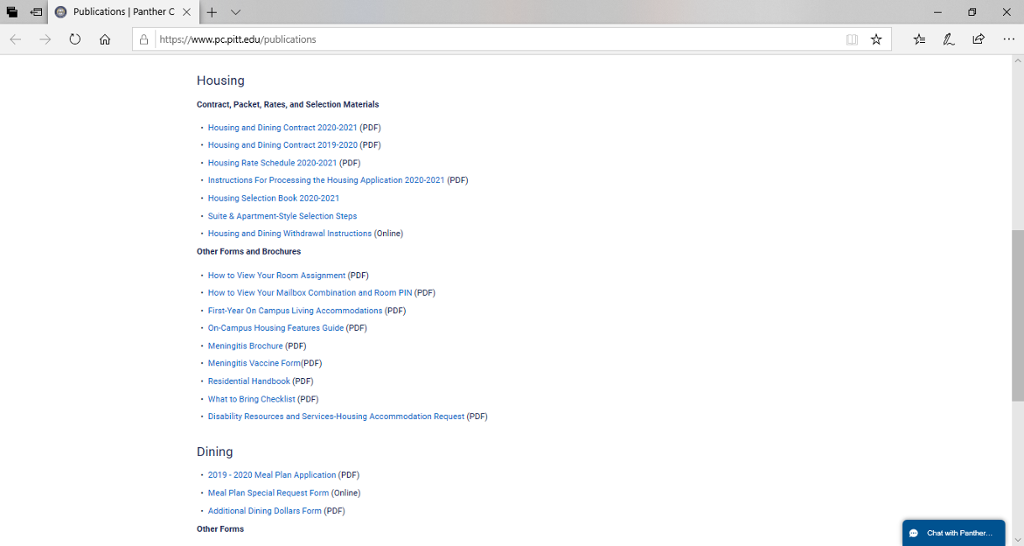 Screenshot of Panther Central's Publications page, which includes Housing forms and applications.