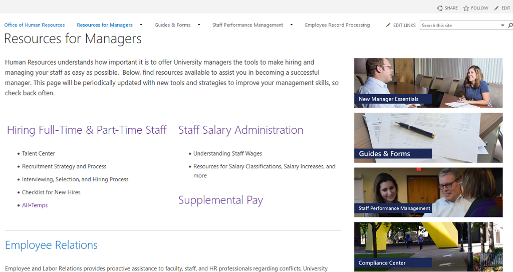 resources for managers page screenshot