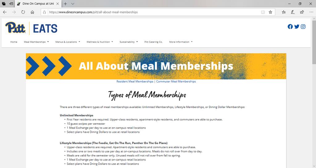 Screenshot of Pitt Eats' Membership page.