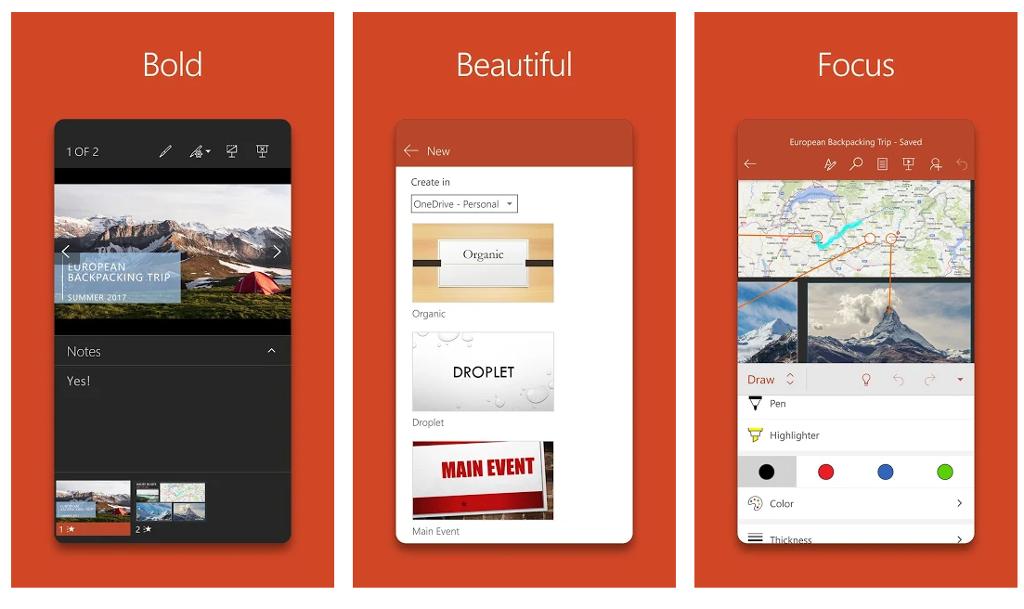 MicroSoft PowerPoint app screen shot.