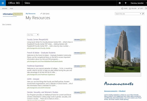 View your SharePoint sites.