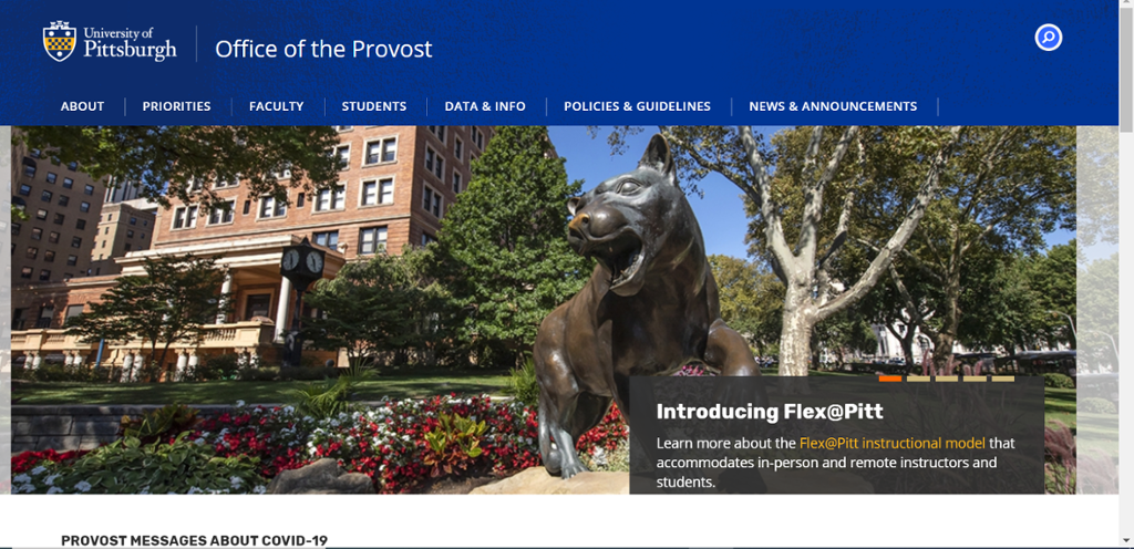 Image of information on the Office of the Provost