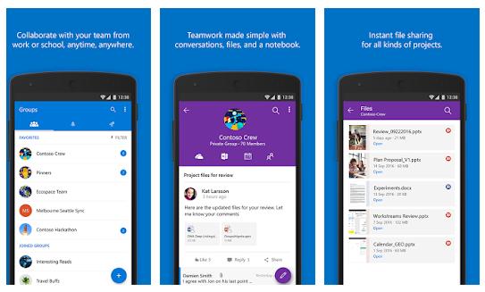 Outlook Groups app screen shot.
