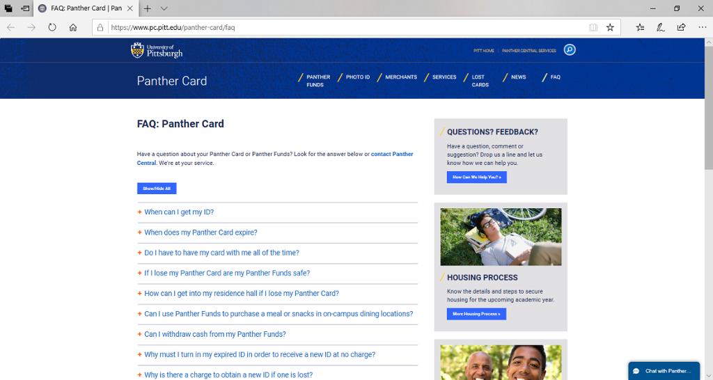 Screenshot of Panther Central's Panther Card FAQ.