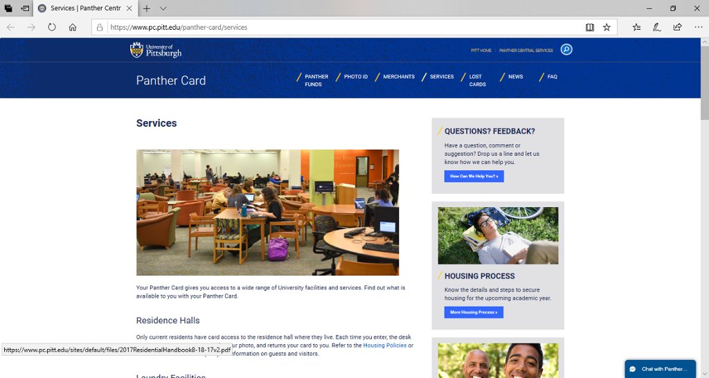 Screenshot of Panther's Central Panther Card Services page.