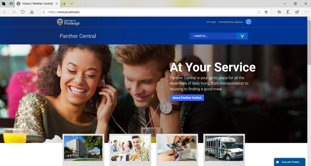 Screenshot of Panther Central's homepage.