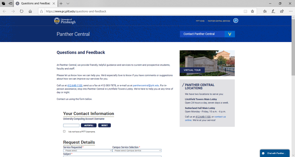 Screenshot of Panther Central's Questions and Feedback page, which includes our chat window and feedback form.