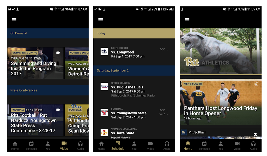 The official Pitt Panthers Gameday app screen shot.