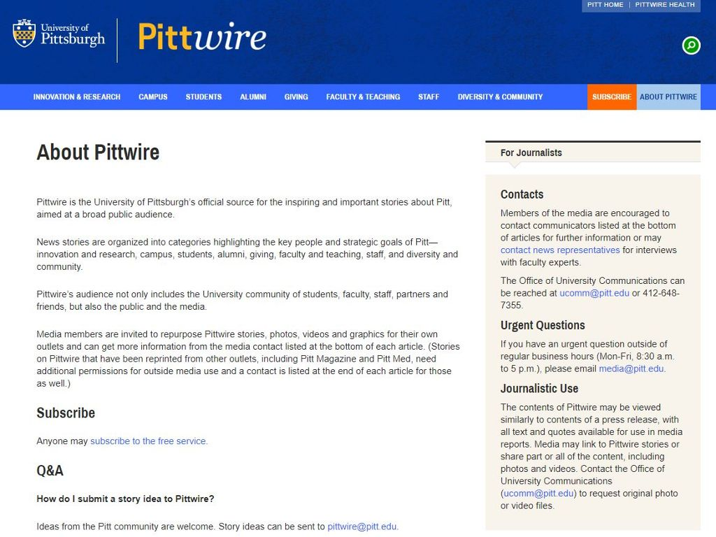 PittWire home page screen shot.