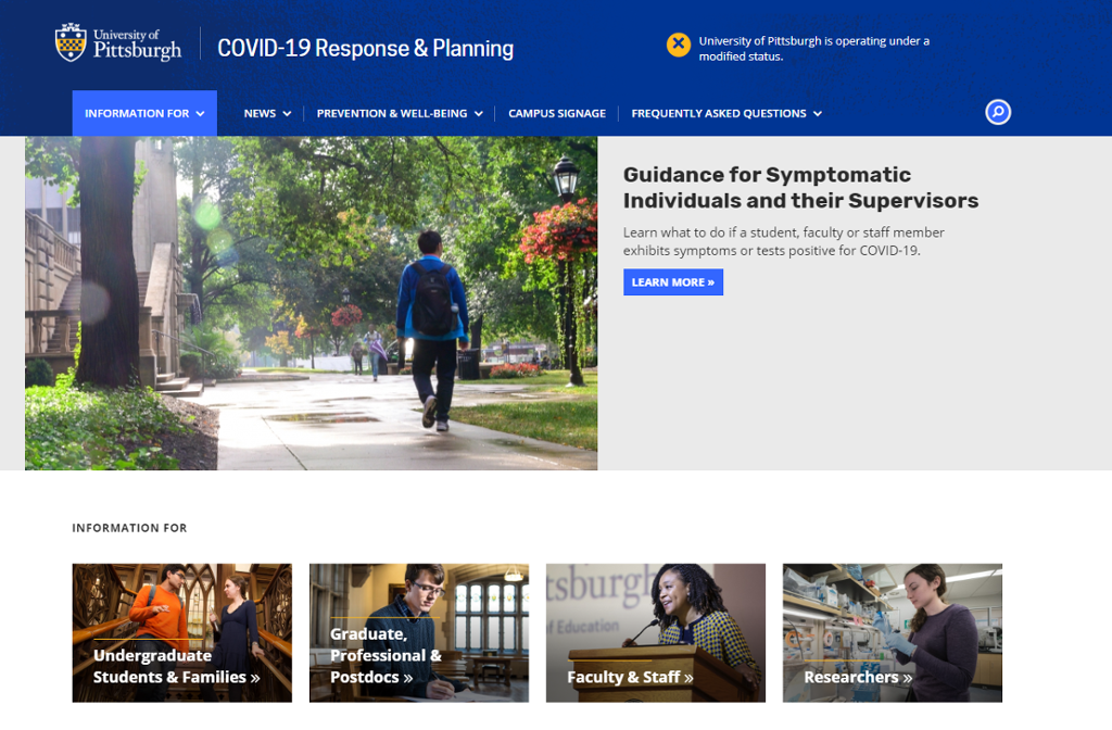 Coronavirus.pitt.edu web site page with an image of a person walking on campus and other boxes with resources and images of people interacting using social distancing.