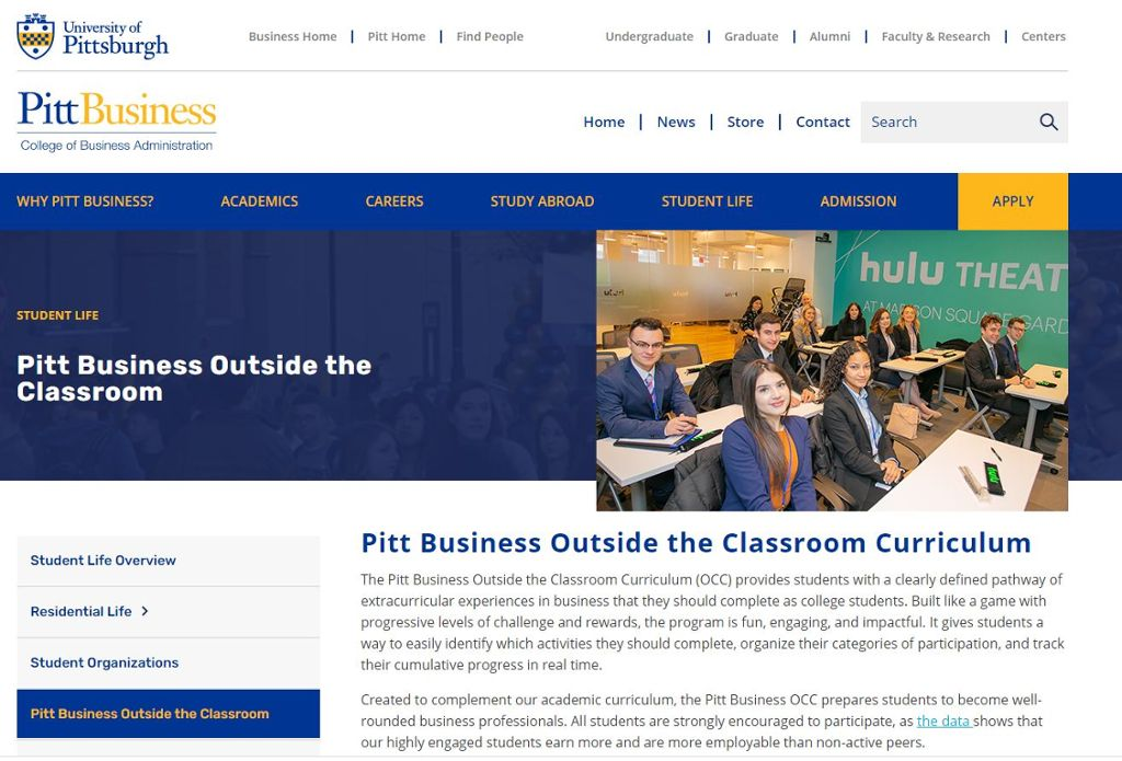 Image of the Pitt Business OCC program page with an image of students in a classroom.