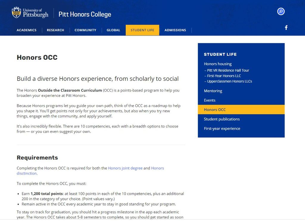 Image of Pitt Honors OCC program page with information about the program.