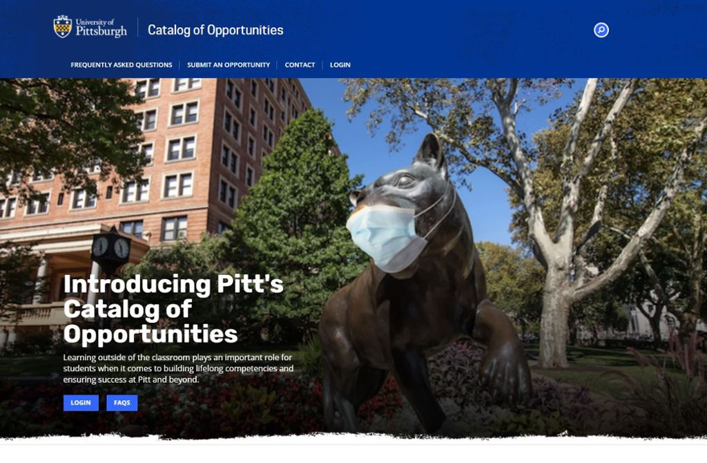 Image of home screen of Catalog of Opportunities with an image of the Panther statue outside of the union with a mask on.