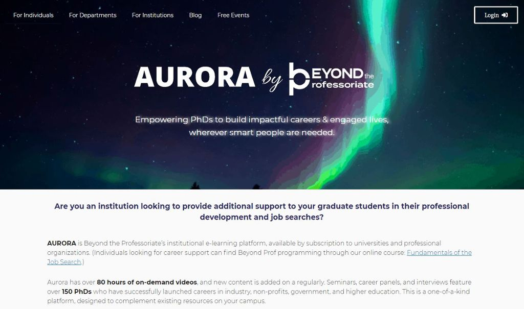 Home screen of Aurora by Beyond the Professoriate with an image of aurora borealis and text about the application.