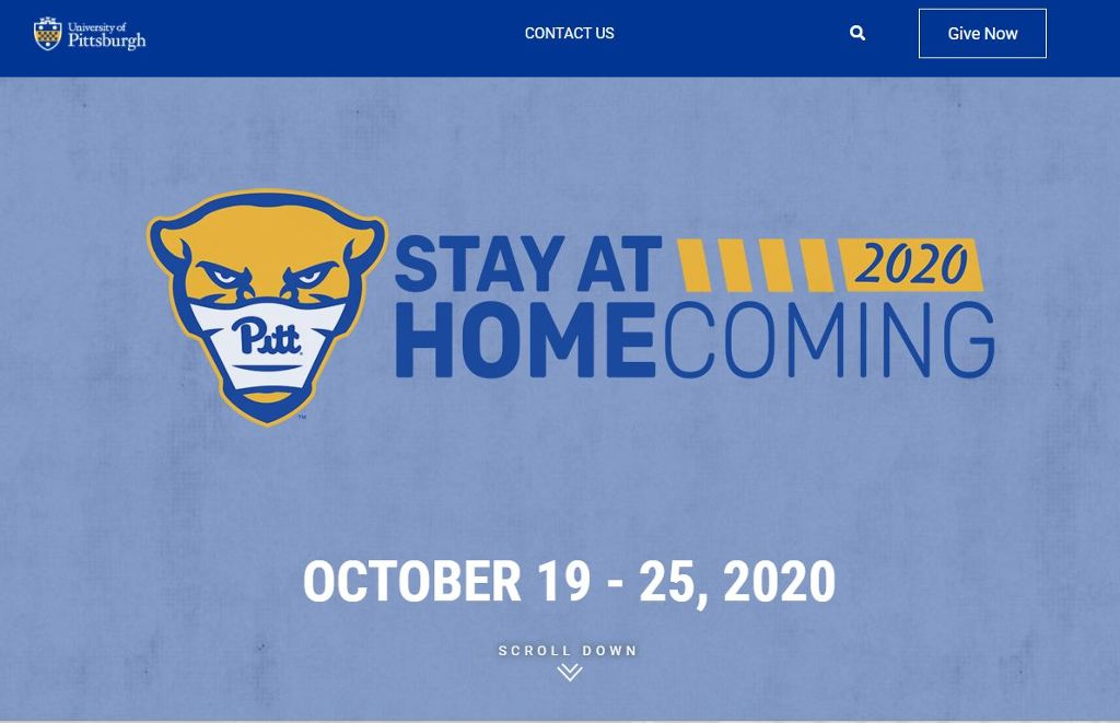 Stay at Home Homecoming 2020 with a picture of the Pitt Panther with a mask on.