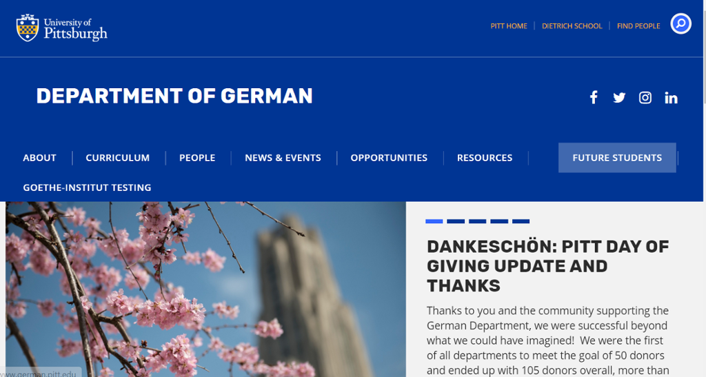 Image of Dept of German offering degree & Certificate options at graduate & undergraduate levels