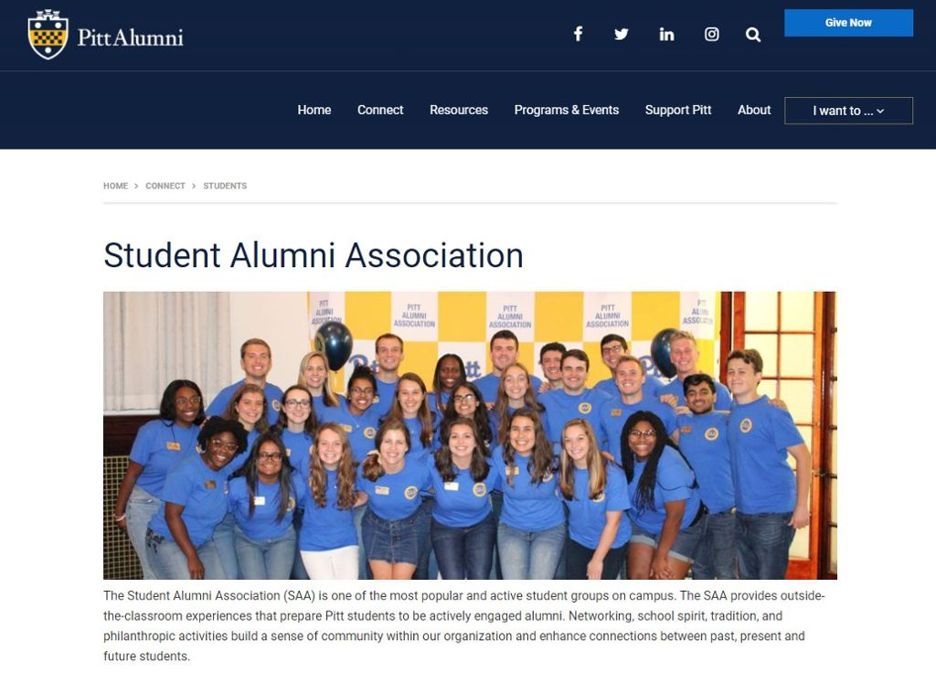 Student Alumni Association home page with an image of the SAA members and information about joining.