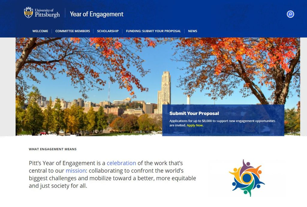 Year of Engagement web site featuring an embedded video, logo of people, and text calling for proposals.
