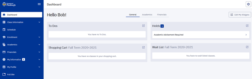 HighPoint Campus Experience Dashboard with menu navigation and widgets
