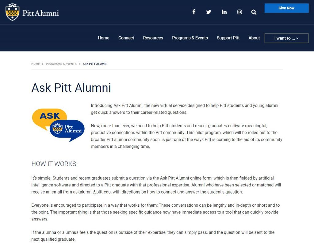 Ask Pitt Alumni web page with the logo and text about the Ask Pitt Alumni service.