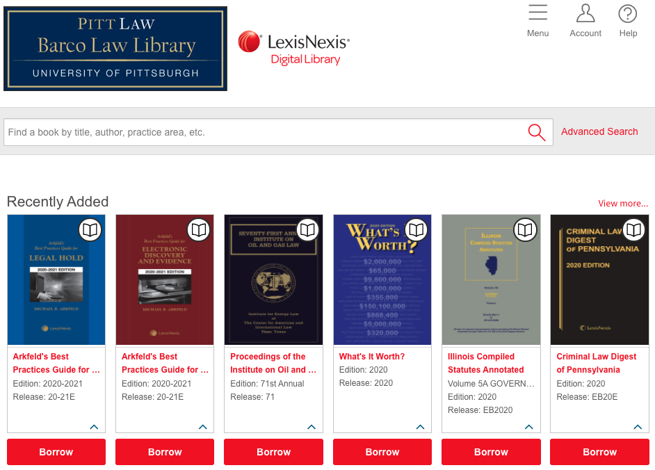 Image of home screen of Pitt Law's LexisNexis Library with thumbnails of articles.