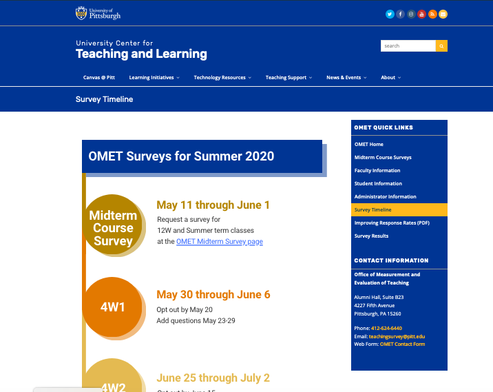 OMET Survey Timeline - Dates and Deadlines