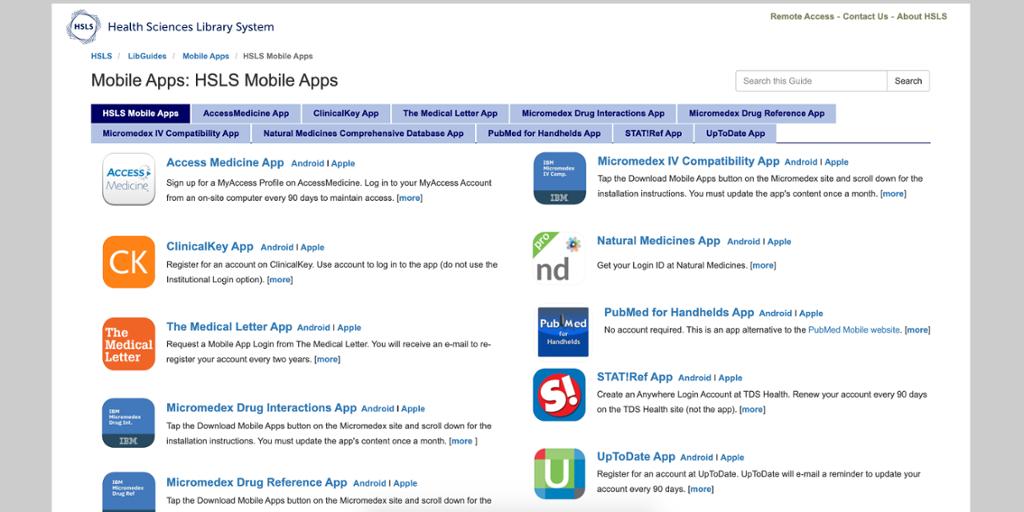 HSLS Health Sciences App Website Screenshot