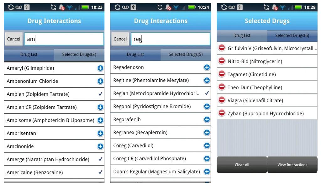 Micromedex Drug Interactions App Screen Shot.