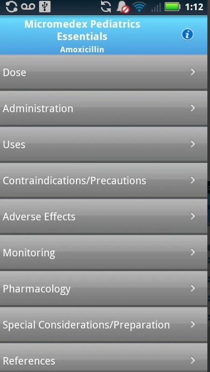 Micromedex Pediatrics App Screenshot
