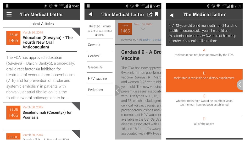 The Medical Letter app screen shot.