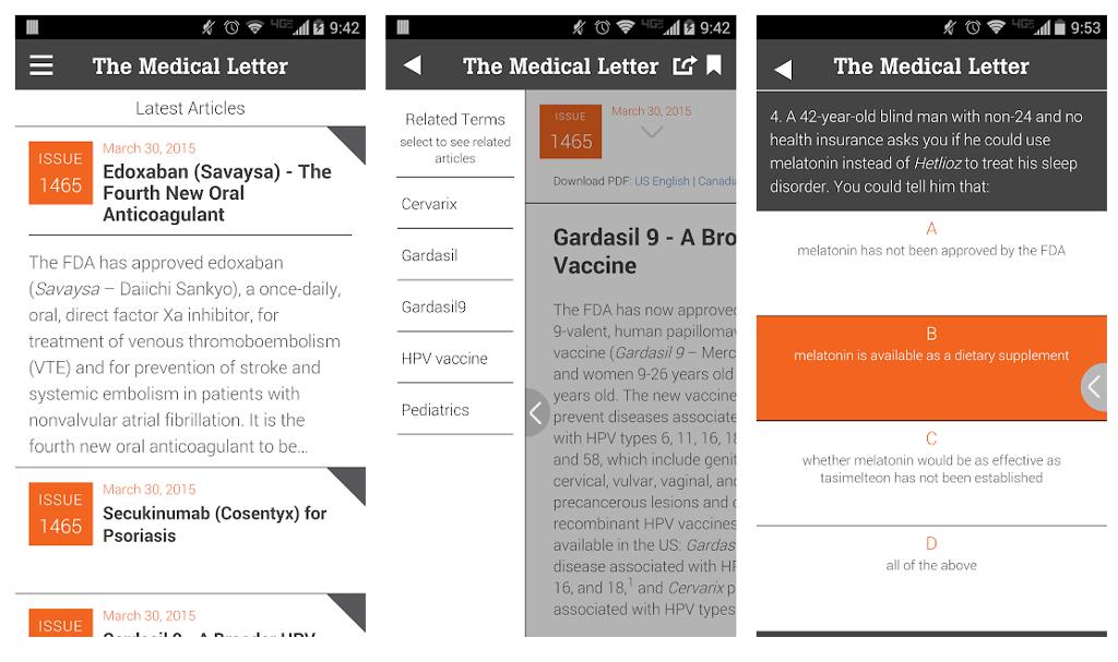 The Medical Letter app screen shot.
