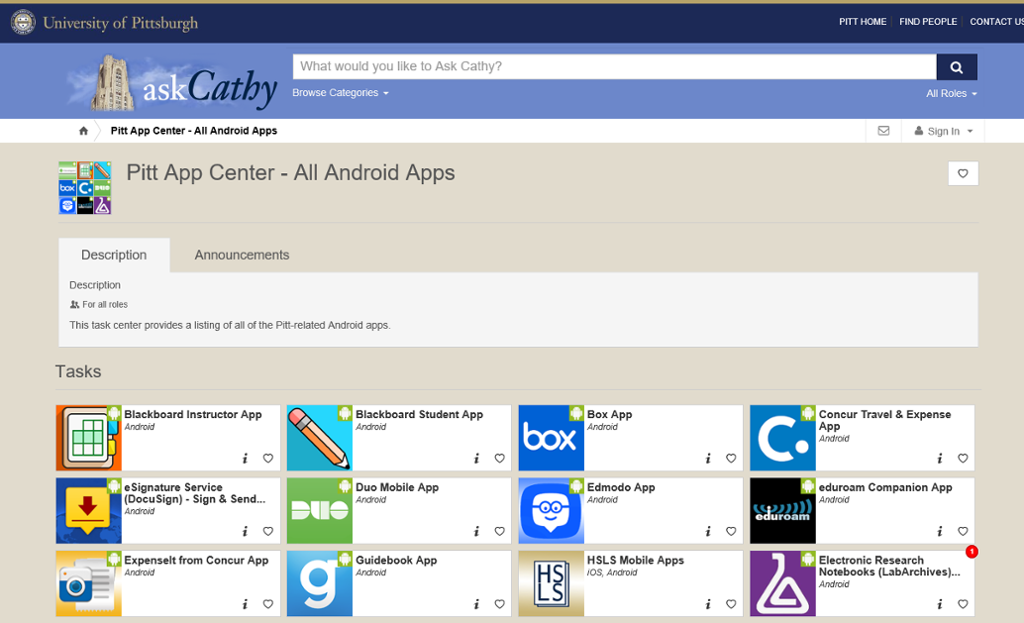 Pitt App Center all Android Apps home page screen shot.