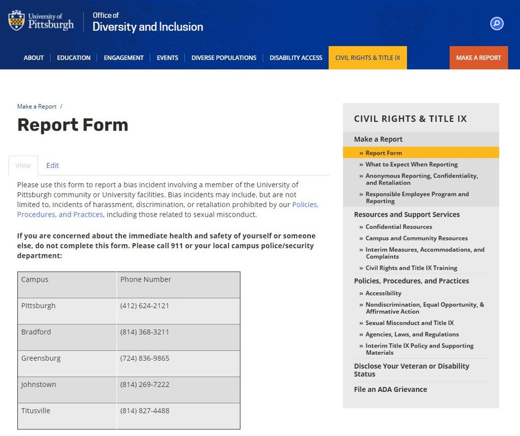 Image of the reporting form page with a table of contacts and the report form further down the page.