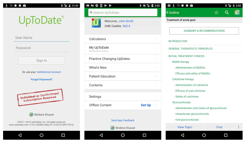 UpToDate app screen shot.