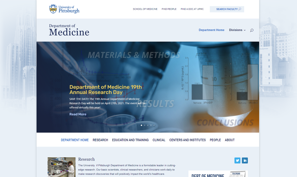 Image of the home screen for the Department of Medicine web site with navigation links and a medical office.