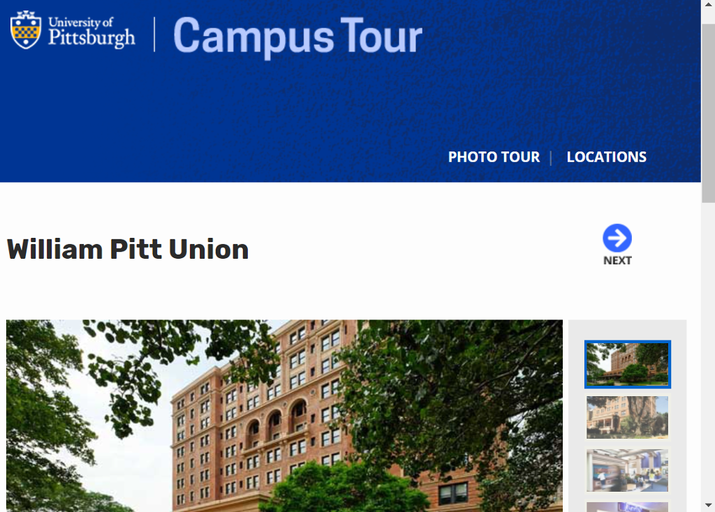 Image of information on Campus Tour