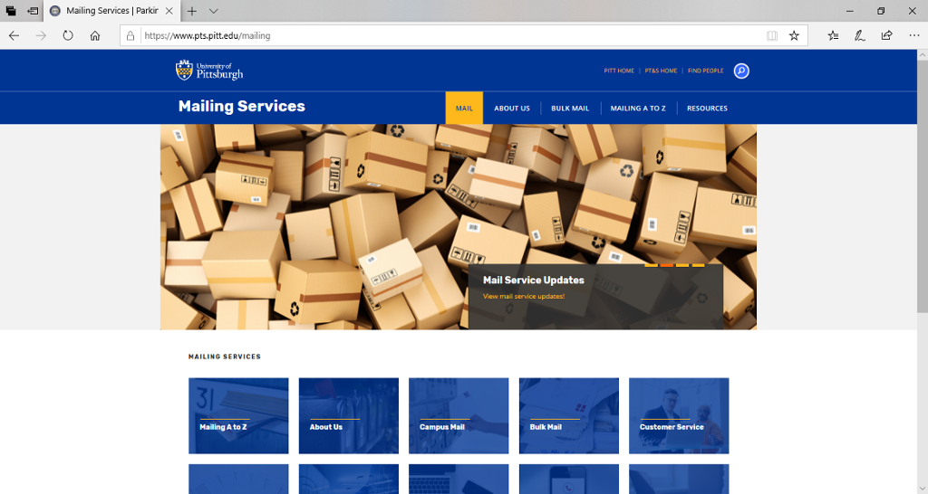 Screenshot of Mailing Services page from Parking, Transportation and Services's site.