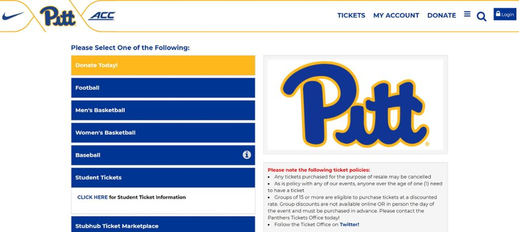 Athletics ticketing home page screen shot.