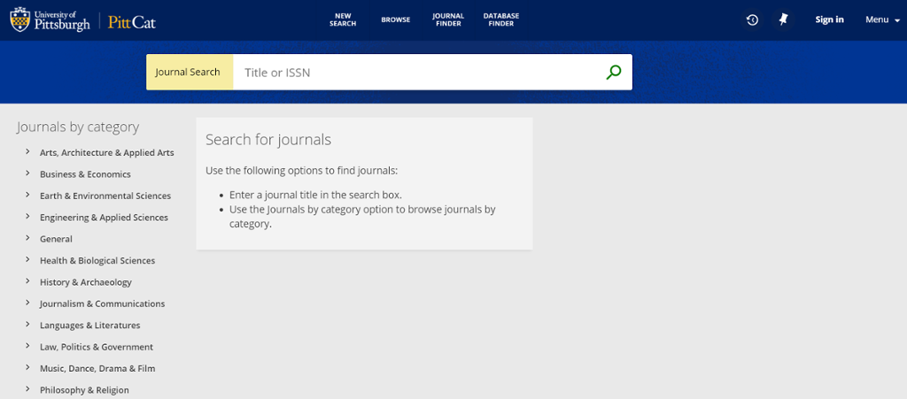 University of Pittsburgh Journal Search
