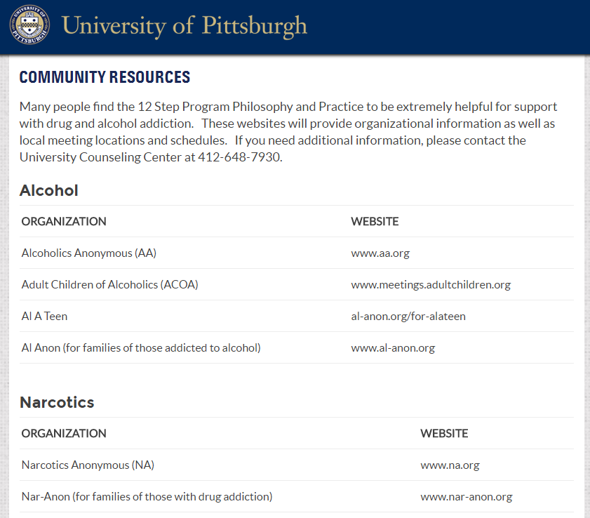 Screen shot of home page for 12 Step Program Community Resources