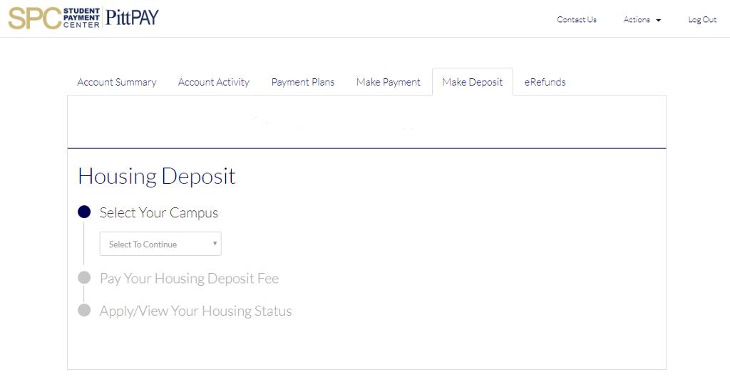 Housing Deposit Screen Shot