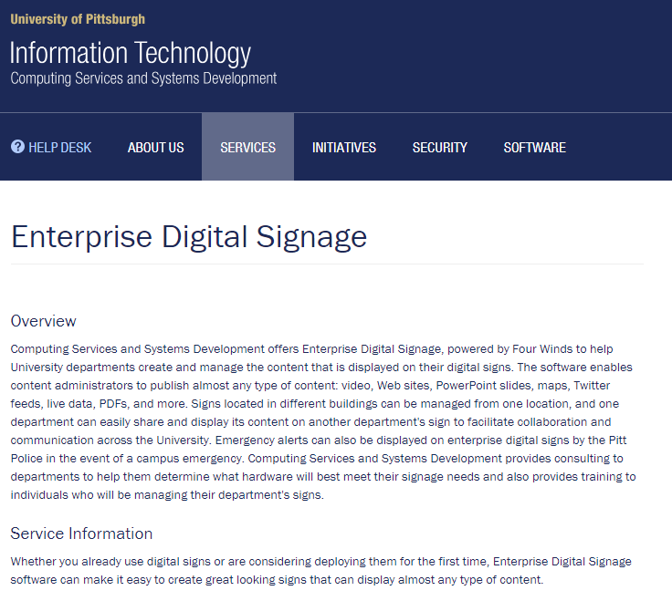Digital Sign resource page with text about the service.