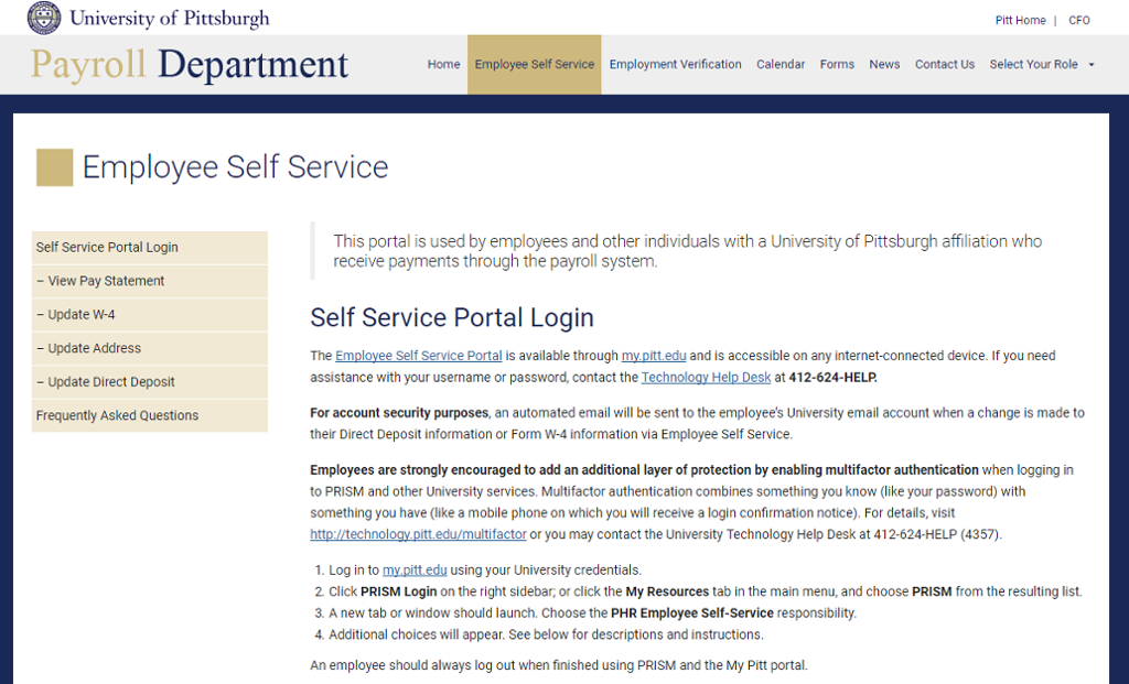 Screen shot of home page for About My Direct Deposit.
