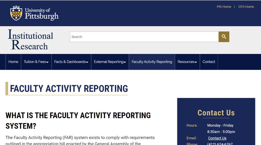 Image of information on Faculty Activity Reporting