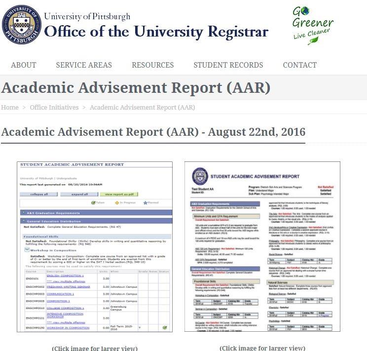 Academic Advisement Report