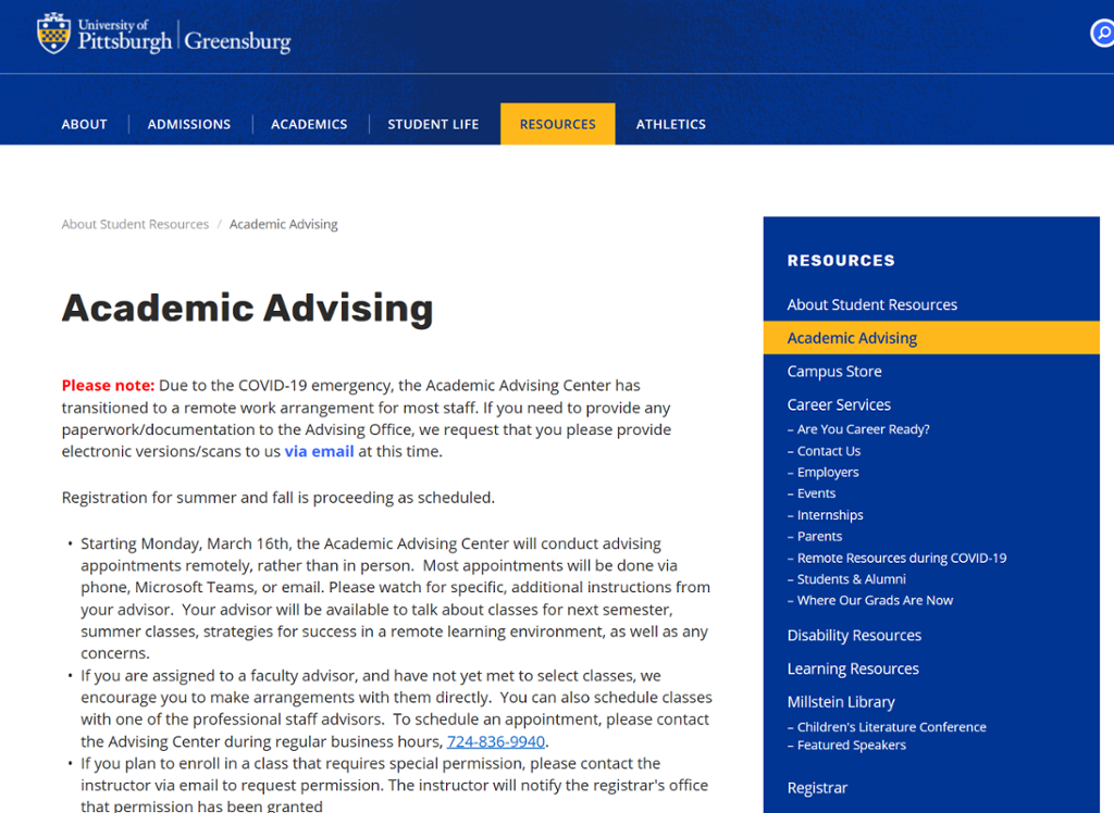 Screenshot of Greensburg Advising page