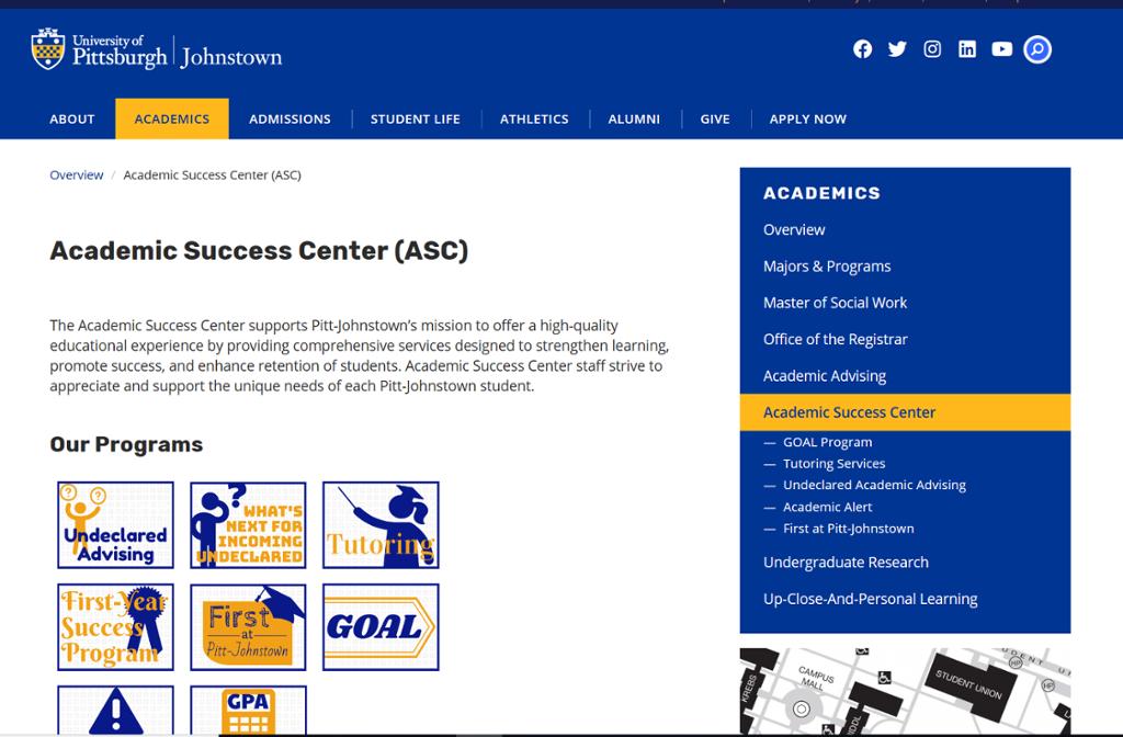 Screenshot of Johnstown Academic Success Center page