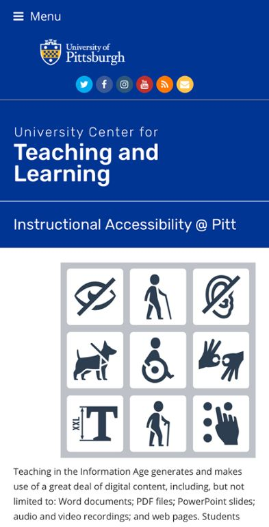 Instructional accessibility web page