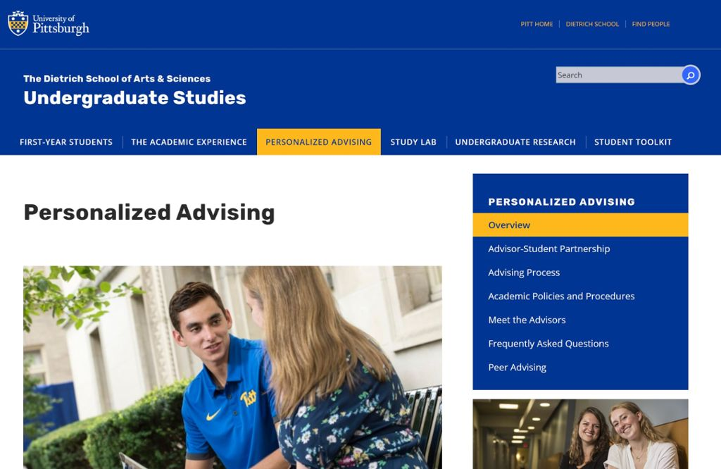 Personalized advising center page with image of students talking.